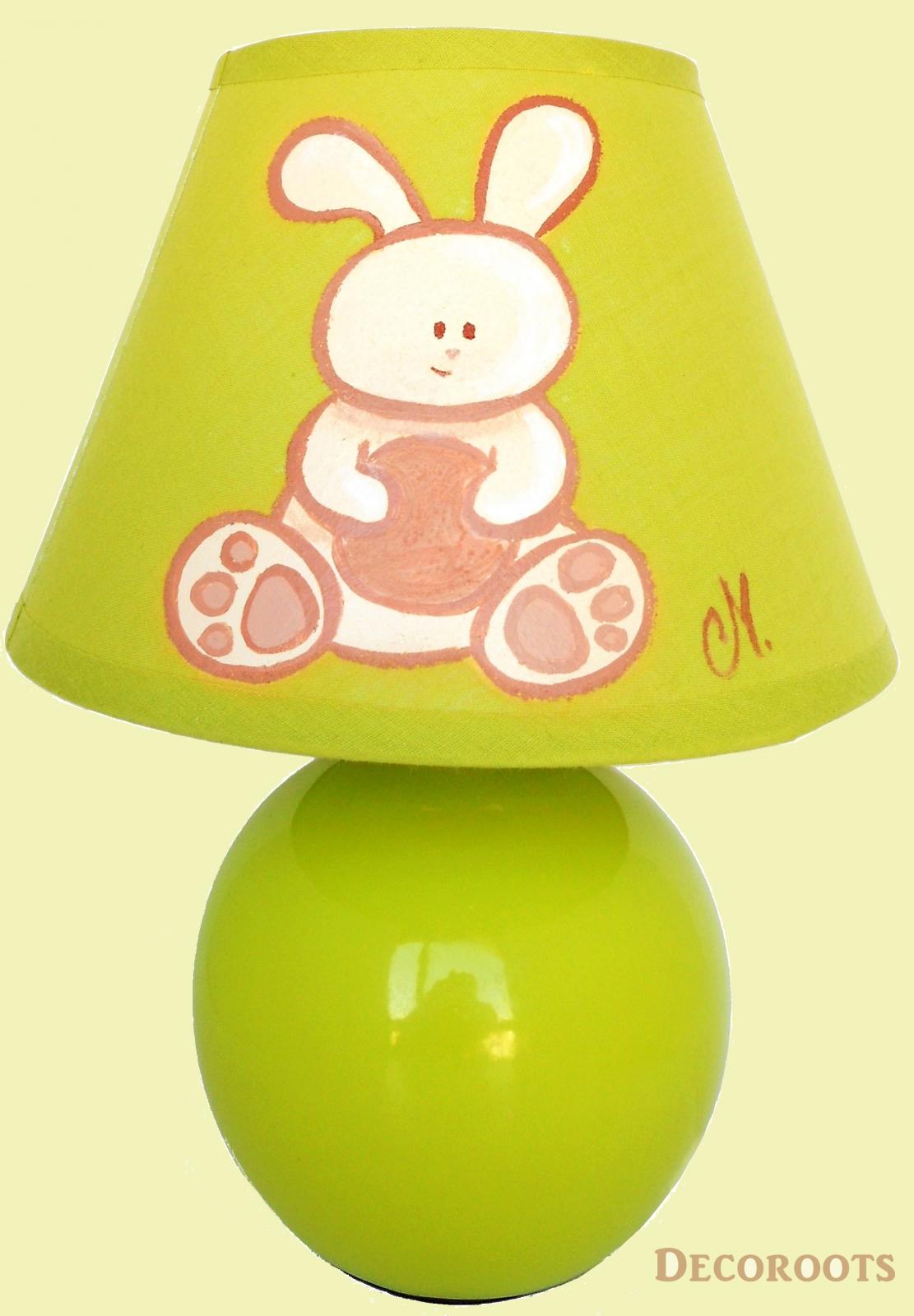 Lampe b b lapin beige et vert d coration chambre for Lampe de chevet bebe fille