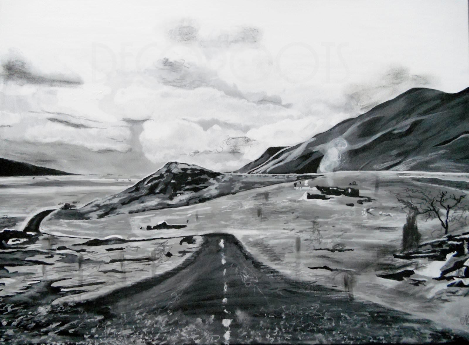 Tableau contemporain paysage noir et blanc ce qui a t for Tableau photo noir et blanc