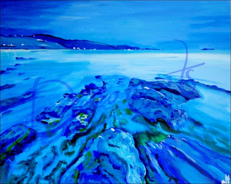 Tableau plage mer n buleuse bleue grand format - Tableaux mer et plage ...