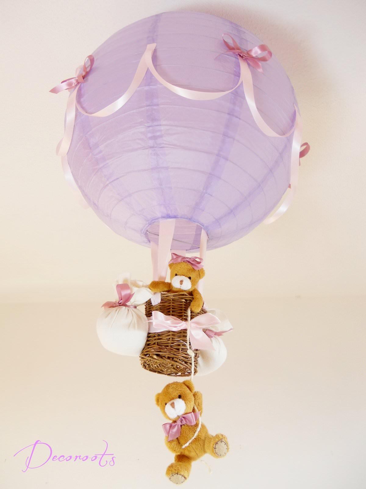 Lampe montgolfi re enfant b b violet et rose cr ation for Luminaire chambre bebe fille