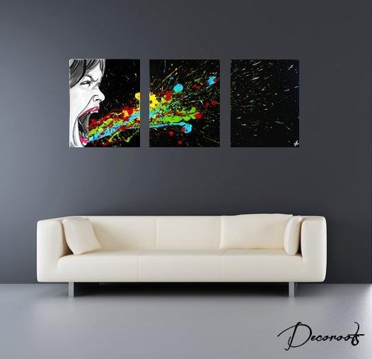 tableau design contemporain noir et blanc multicolore. Black Bedroom Furniture Sets. Home Design Ideas