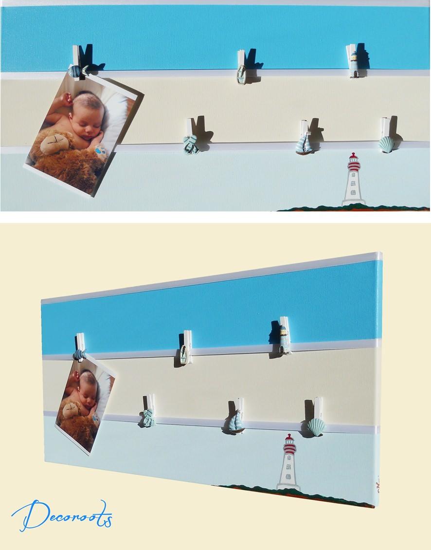 P le m le photo enfant b b th me bord de mer le phare for Pele mele chambre garcon