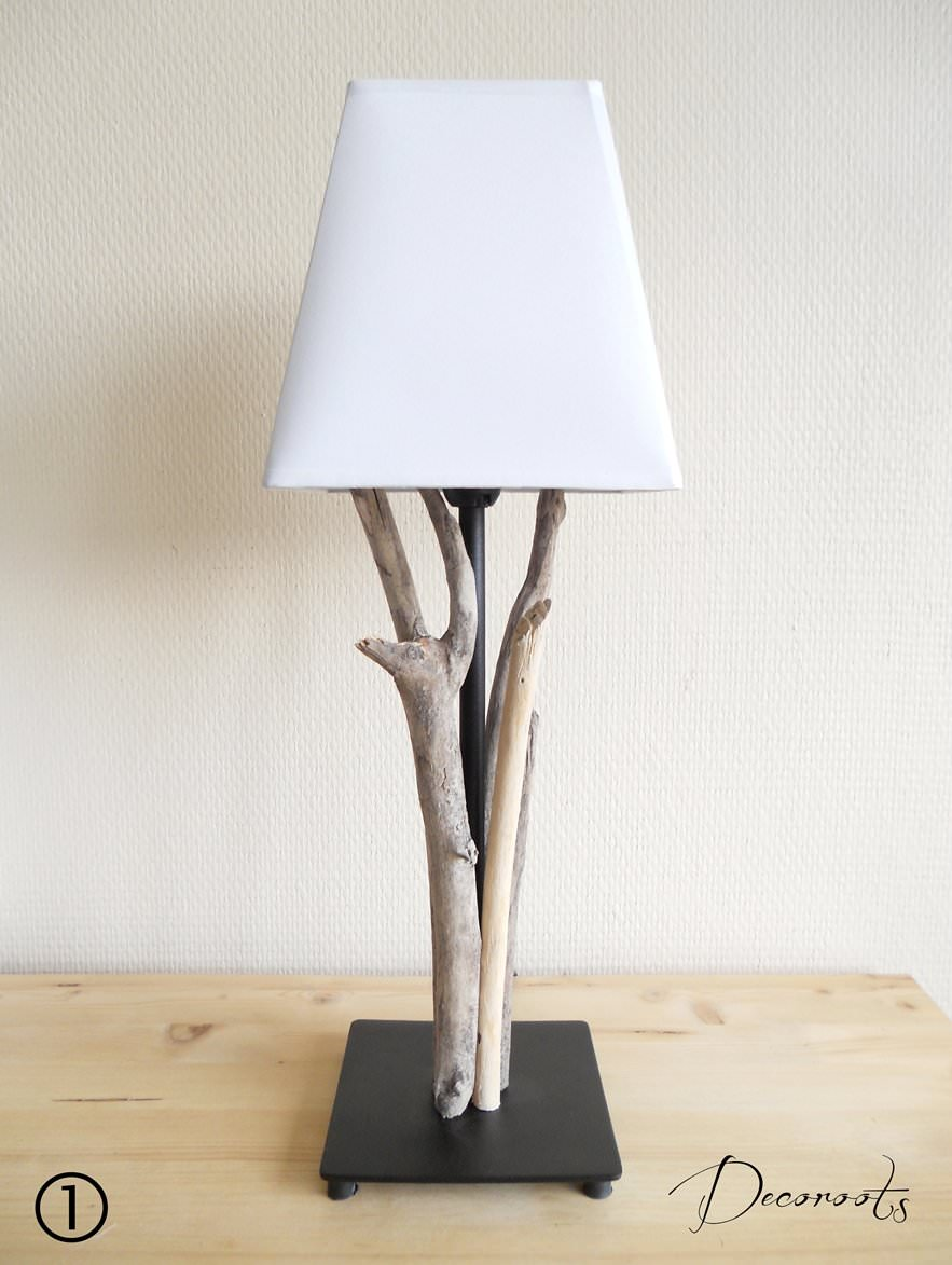 Lampe en bois flott d coration ethnique nature et zen for Lampe en bois flotte creation