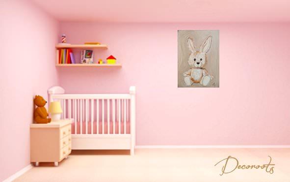 Tableau esth ban le lapin personnalisable enfant b b for Chambre fille rose et taupe