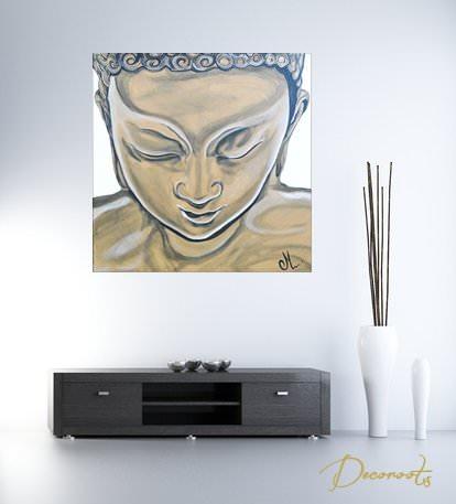 Tableau ethnique zen bouddha marron taupe blanc grand for Chambre zen taupe