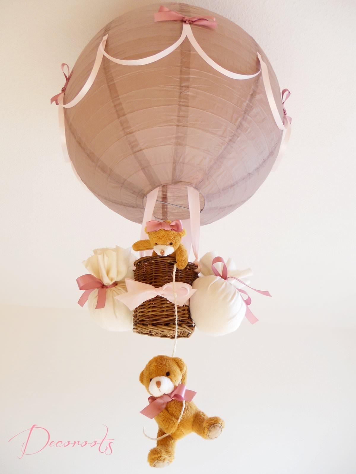 Lampe montgolfi re fille taupe et rose enfant b b luminaire enfant b b decoroots Abat jour chambre enfant