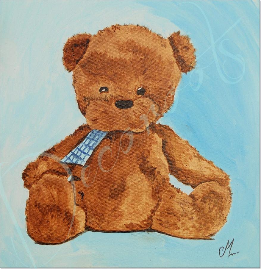 Tableau enfant b b thim o l 39 ours en peluche bleu et marron enfant b b tableau enfant b b for Chambre garcon marron et bleu