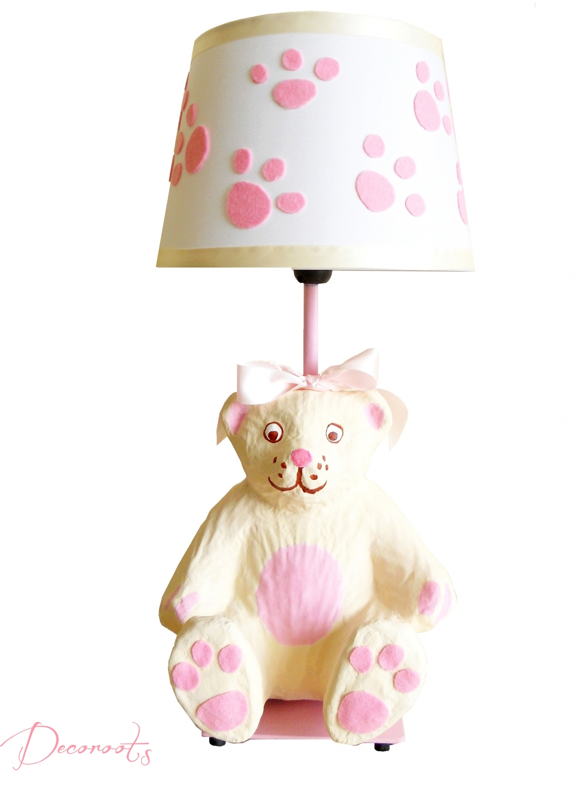 lampe de chevet enfant b b oursonne rose et beige enfant b b luminaire enfant b b decoroots. Black Bedroom Furniture Sets. Home Design Ideas