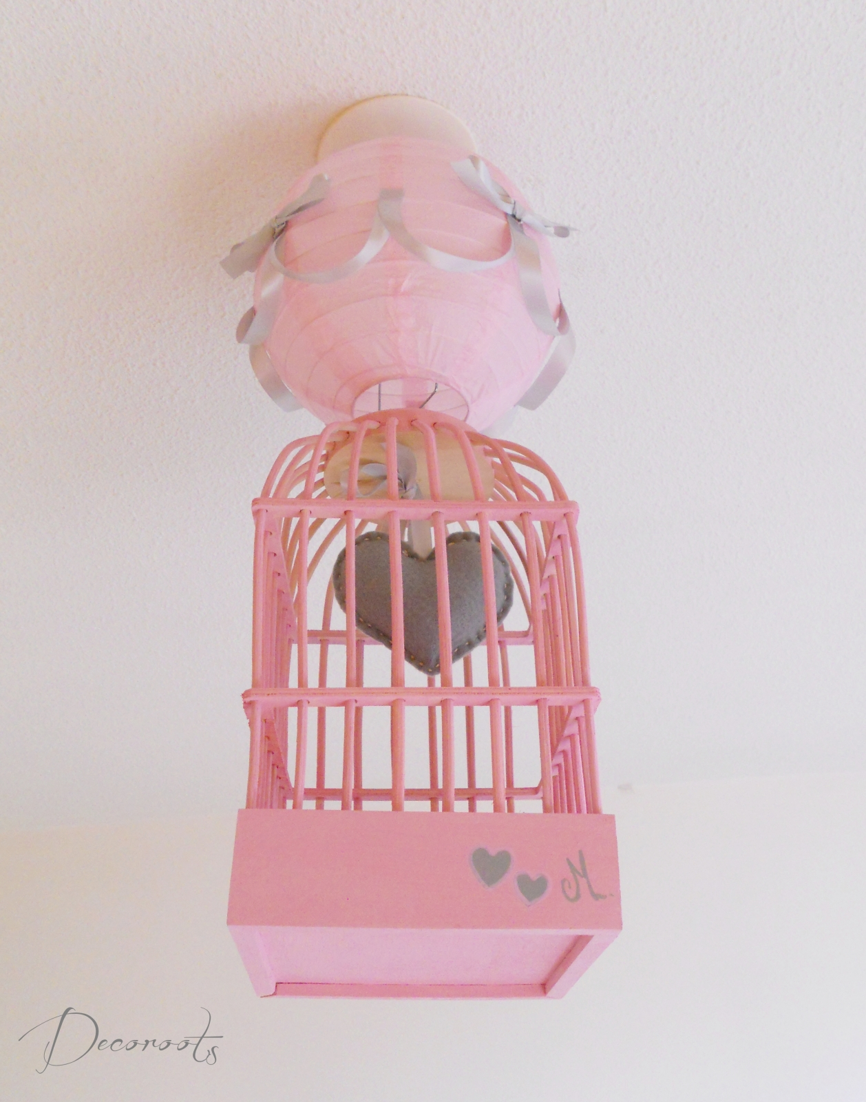 Lustre Suspension Fille Cage Petit C Ur Rose Et Gris