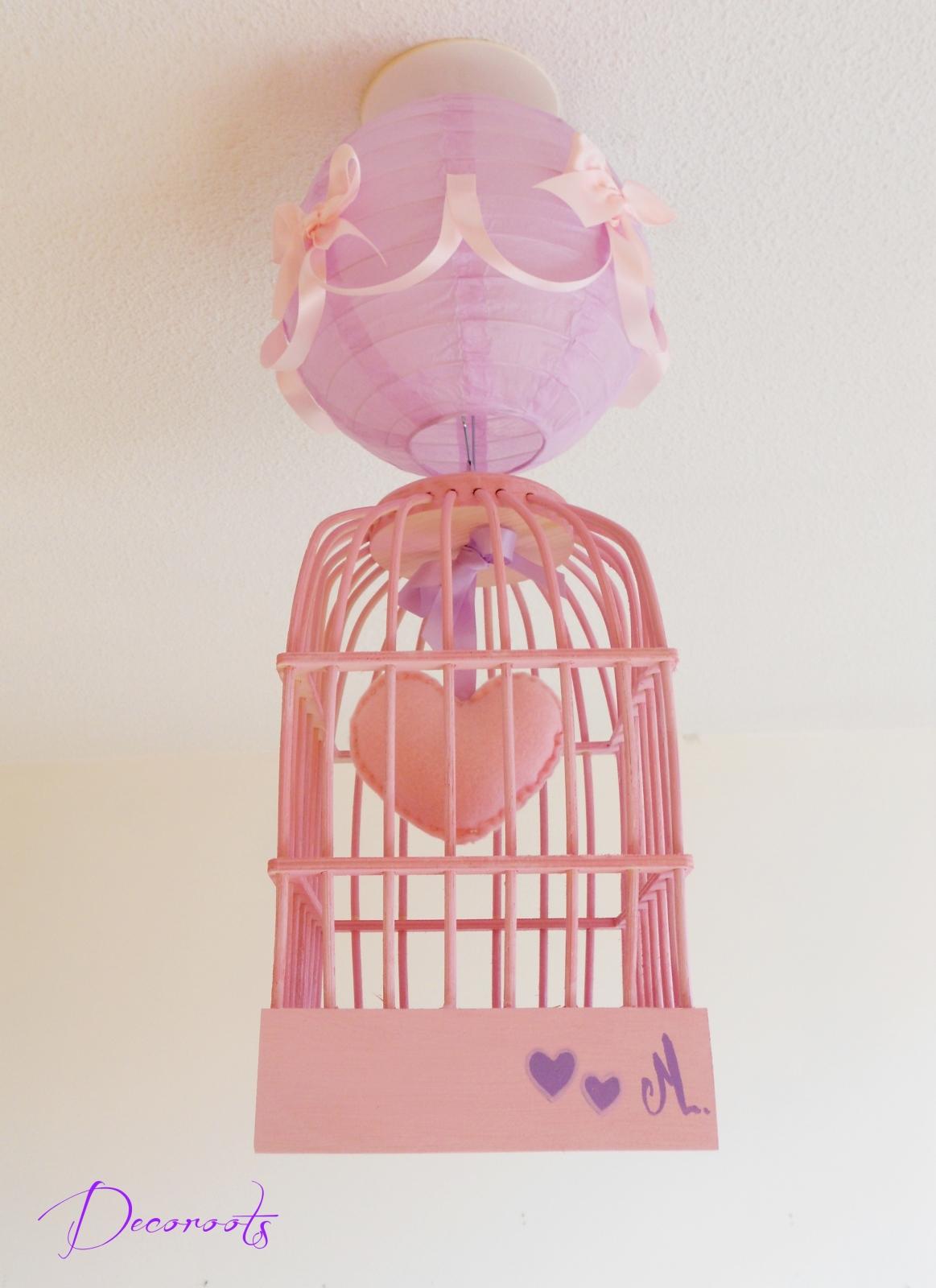 Lustre Suspension Fille Cage Petit Coeur Rose Et Parme
