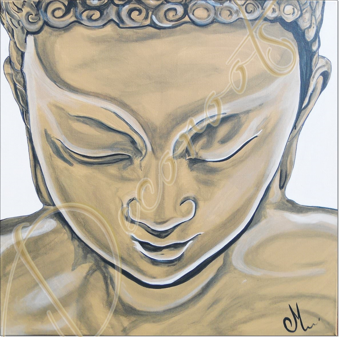 Tableau ethnique zen bouddha marron taupe blanc grand for Decoration chambre zen nature