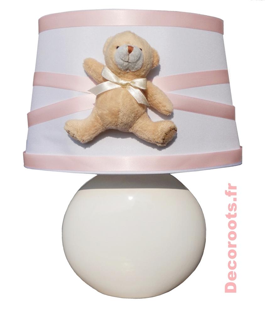 lampe de chevet fille ours rose et beige enfant b b. Black Bedroom Furniture Sets. Home Design Ideas