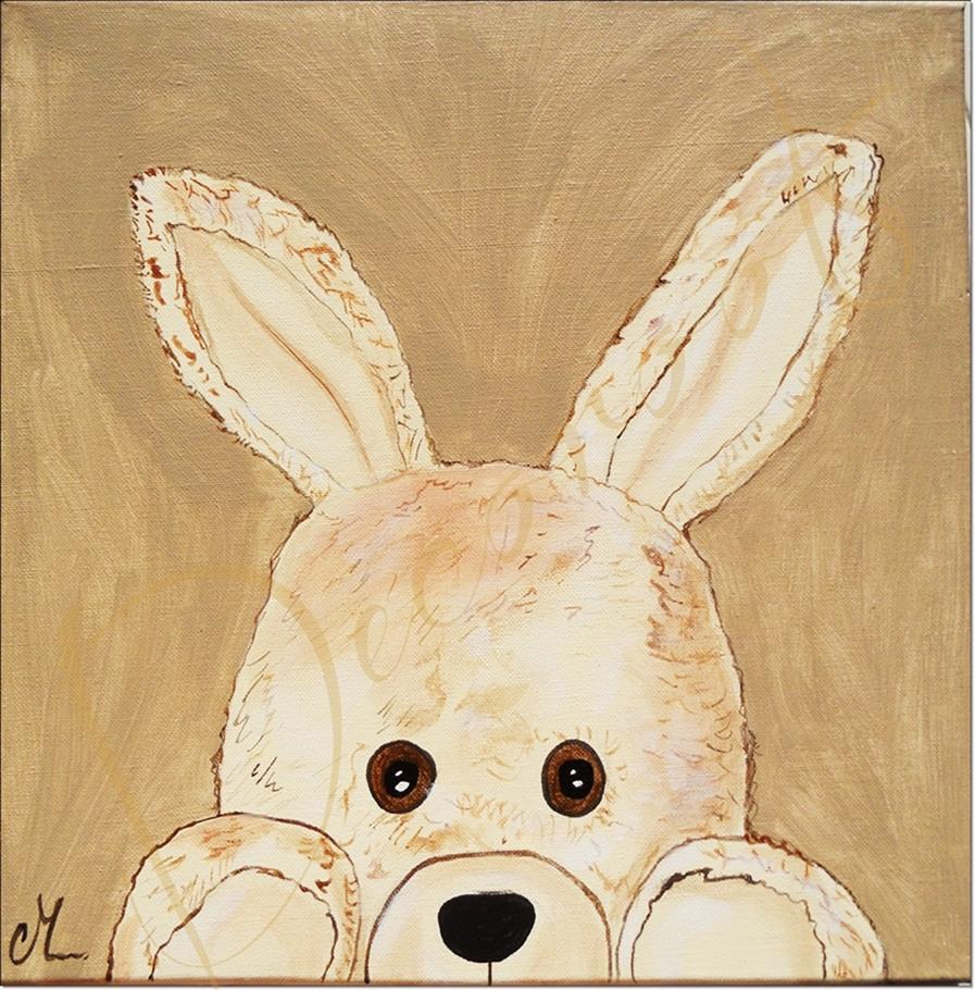 Tableau enfant b b esth ban le lapin en peluche for Tableau chambre bebe garcon