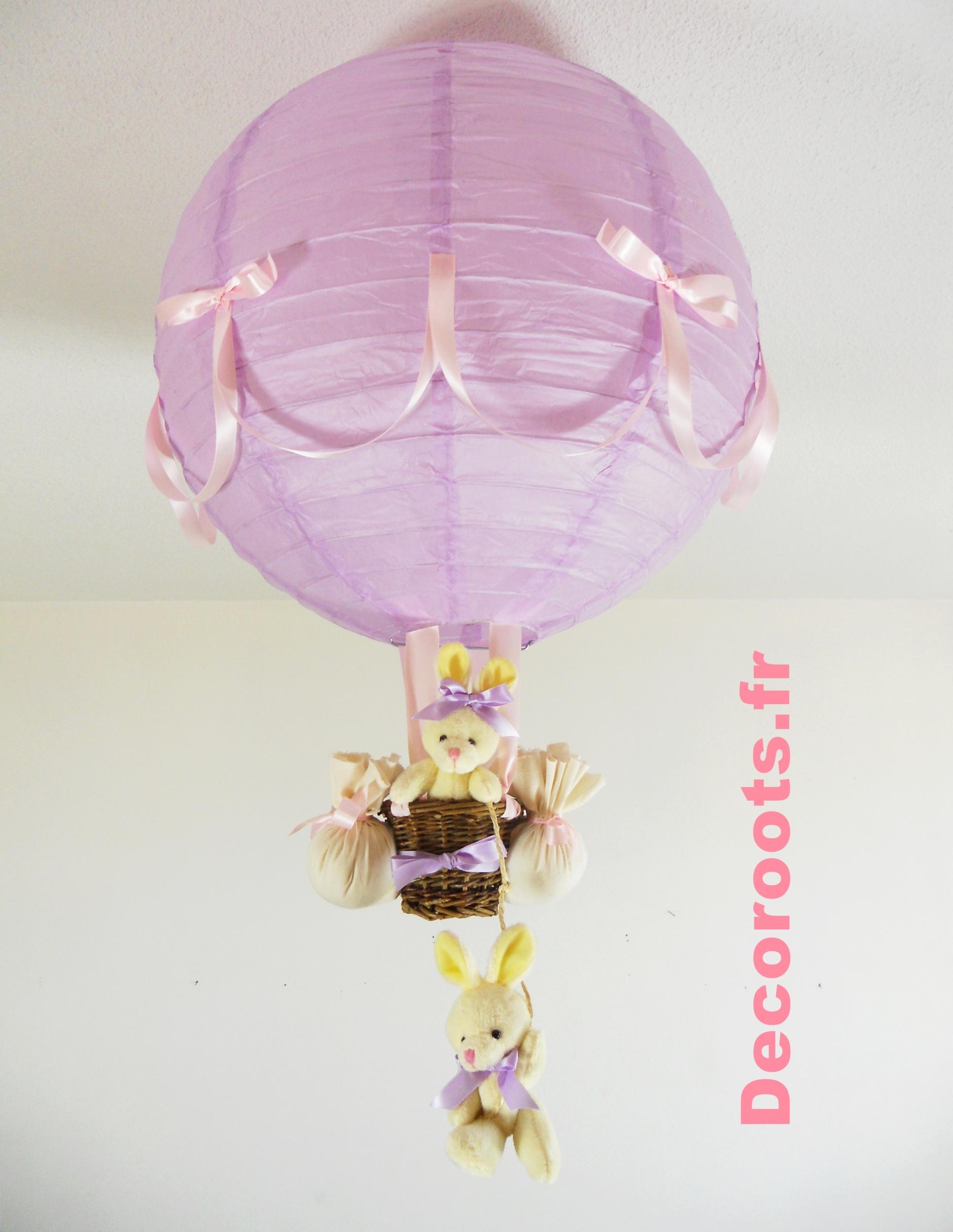 lampe montgolfi re enfant b b lapin violet parme rose. Black Bedroom Furniture Sets. Home Design Ideas