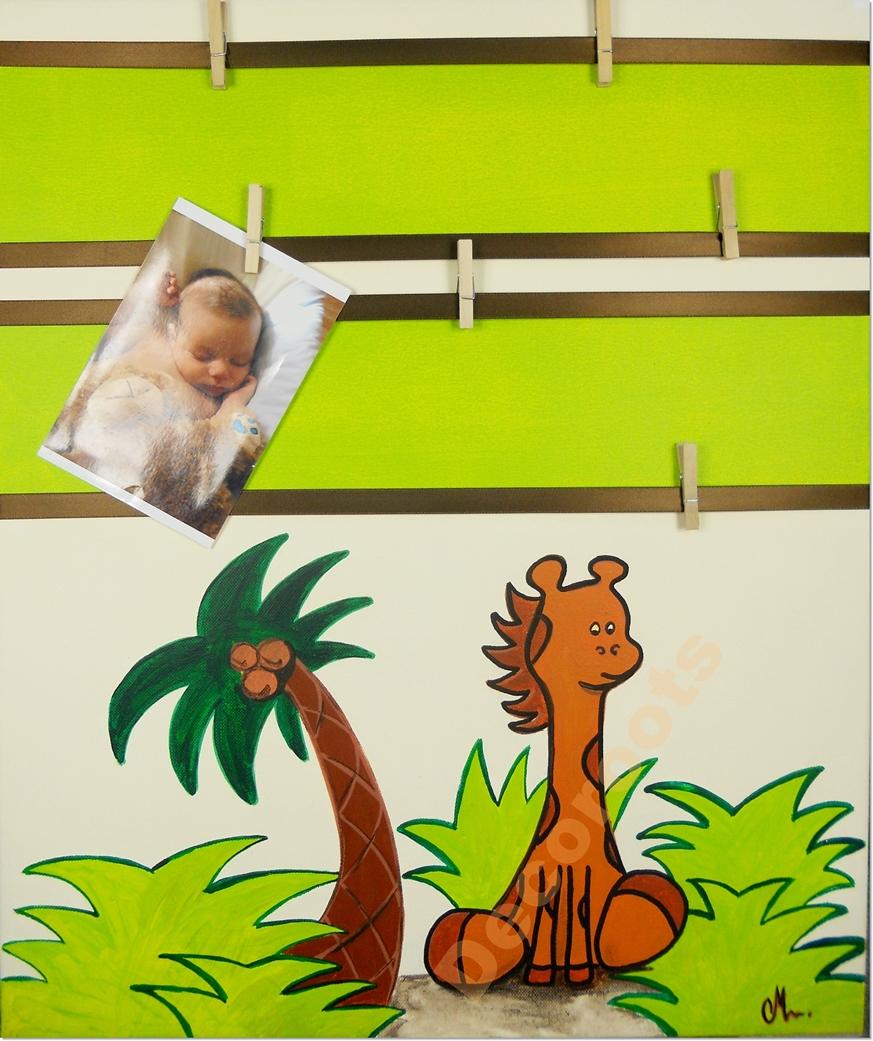 tableau p le m le jungle girafe enfant b b objet. Black Bedroom Furniture Sets. Home Design Ideas