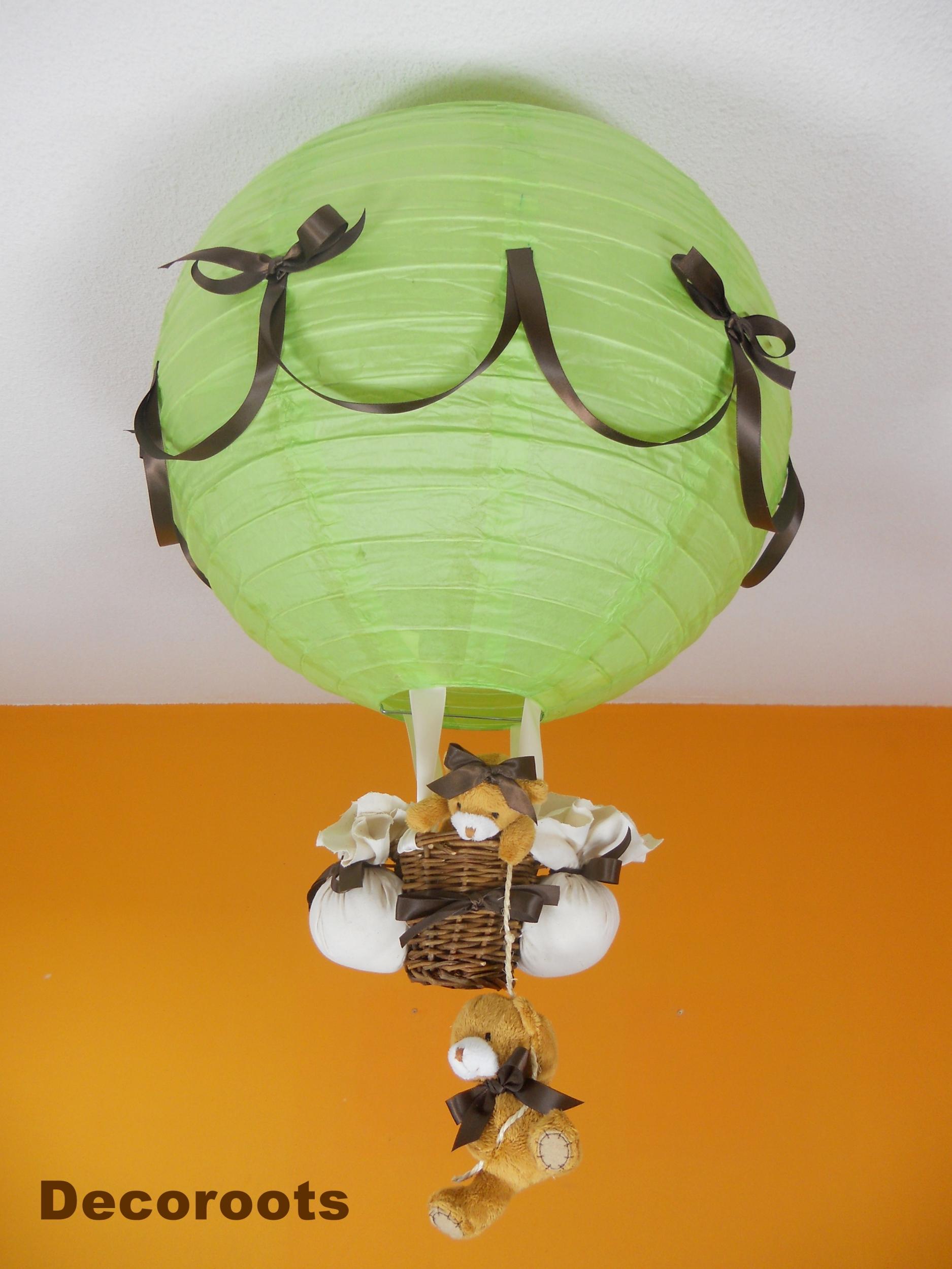 lampe montgolfi re enfant b b ours vert et marron chocolat enfant b b luminaire enfant b b. Black Bedroom Furniture Sets. Home Design Ideas