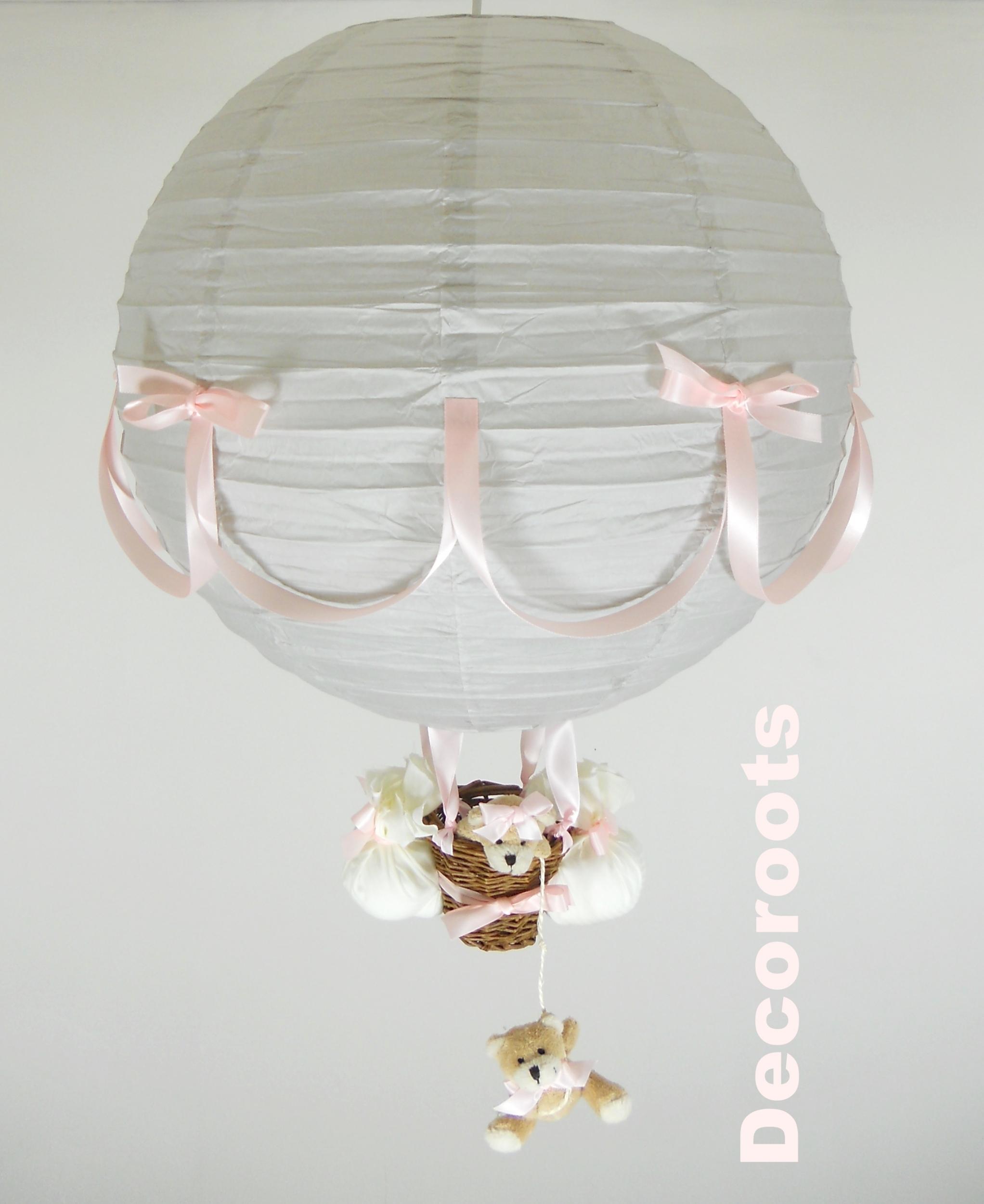 Lampe montgolfi re enfant b b fille ours gris et rose for Plafonnier chambre bebe fille