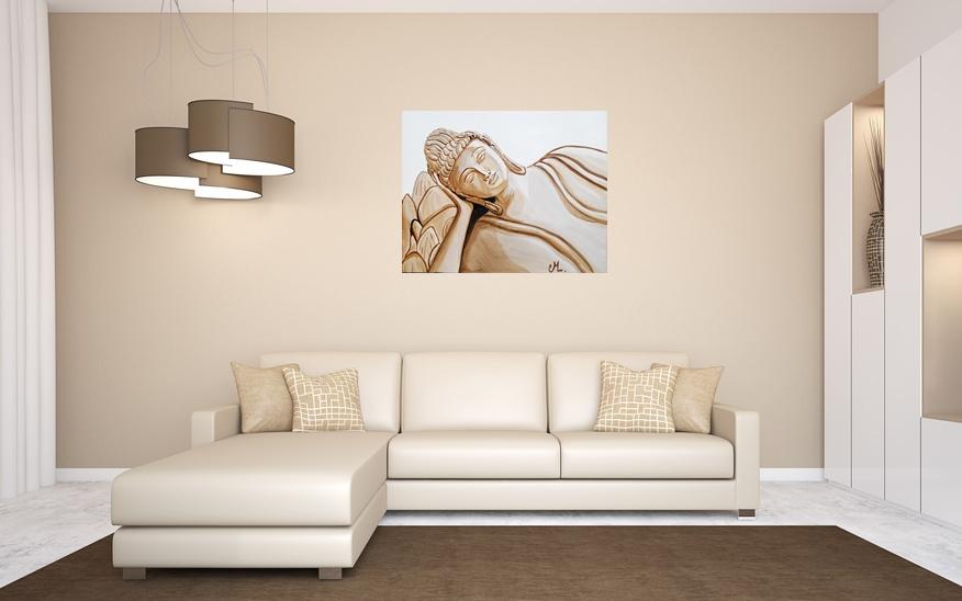 tableau ethnique zen bouddha marron taupe blanc grand format ethnique nature et zen tableau. Black Bedroom Furniture Sets. Home Design Ideas