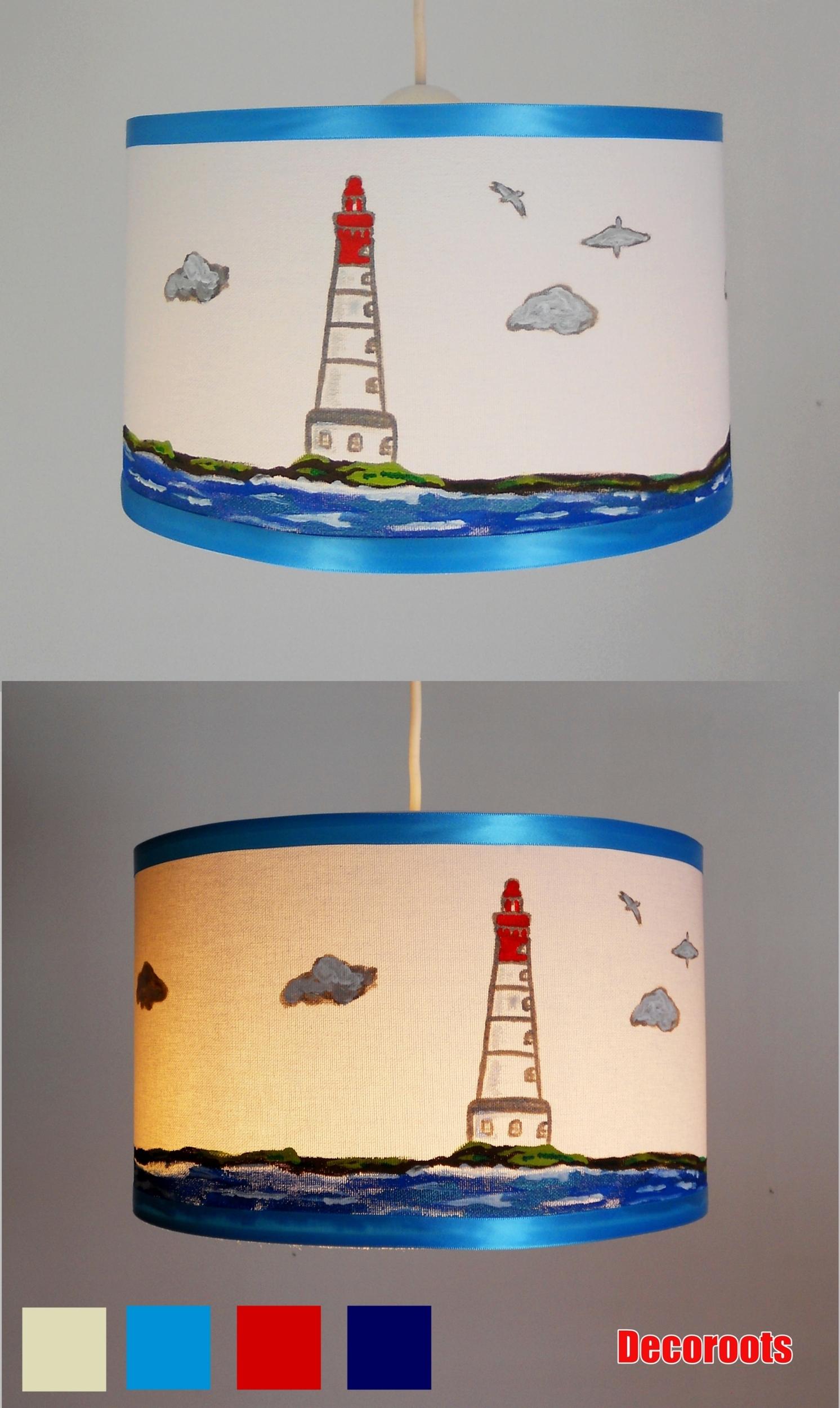 suspension enfant b b le phare mer peint la main. Black Bedroom Furniture Sets. Home Design Ideas