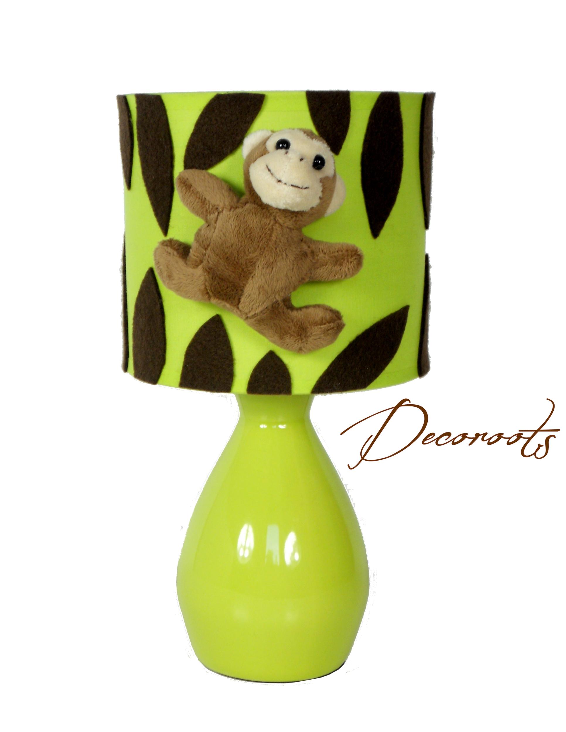 Lampe de chevet jungle vert anis singe luminaire enfant b b - Lampe de chevet chocolat ...