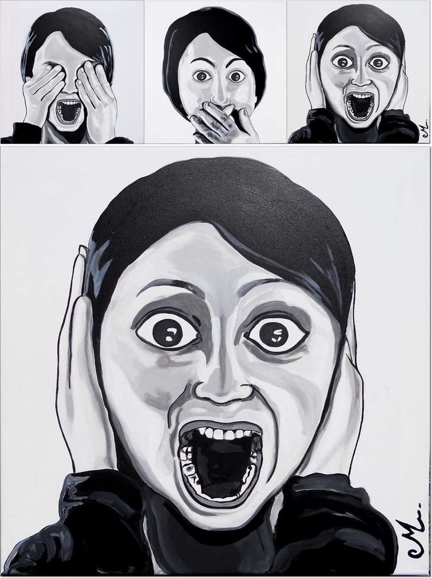 Tableau d co triptyque design femme noir et blanc les - Tableau noir et blanc design ...
