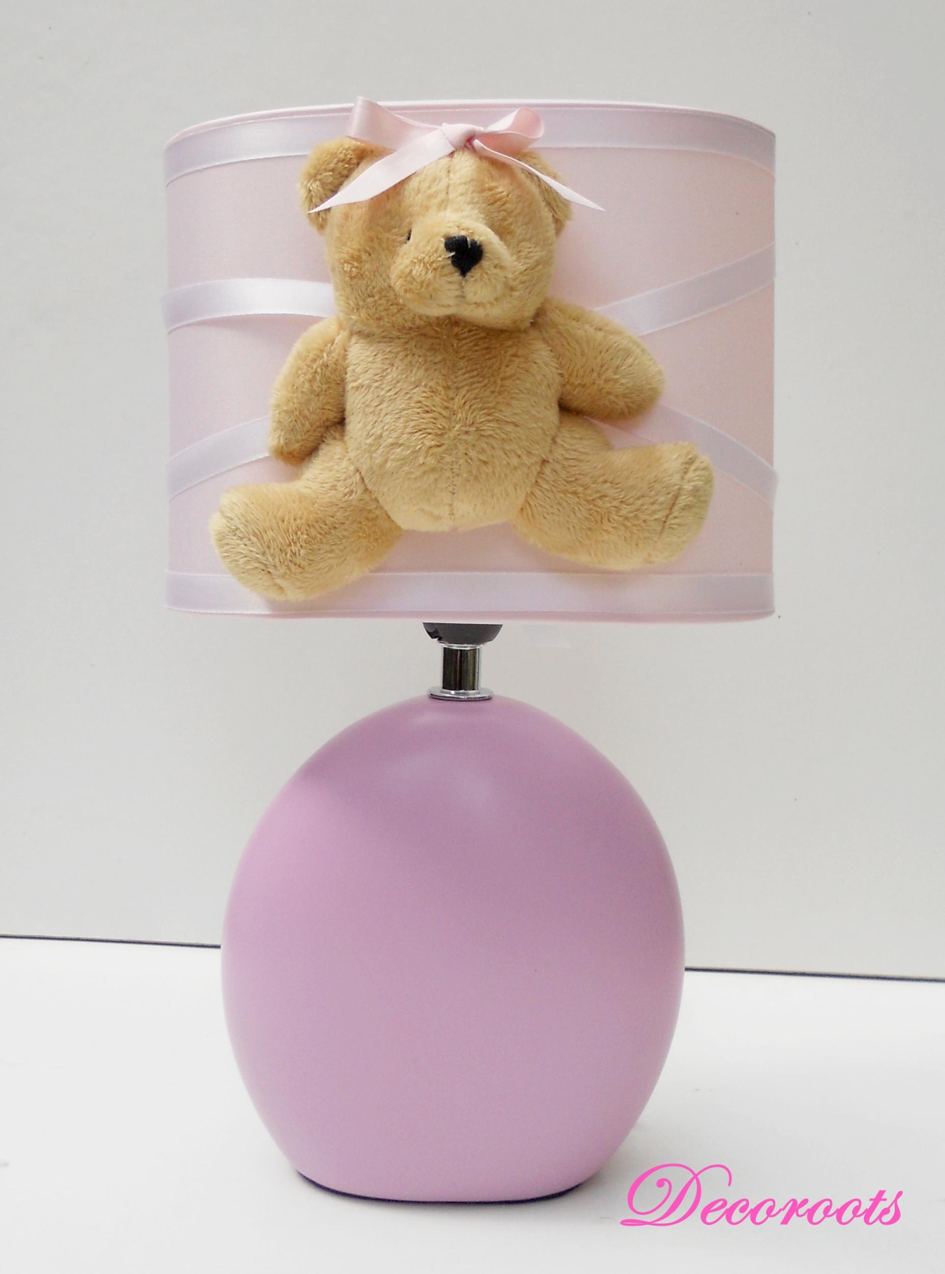 lampe de chevet fille ours rose et beige enfant b b luminaire enfant b b decoroots. Black Bedroom Furniture Sets. Home Design Ideas