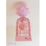 "Lustre suspension fille cage ""petit coeur"" rose et parme."