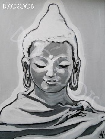 tableau ethnique zen bouddha noir et blanc gris peint à la main