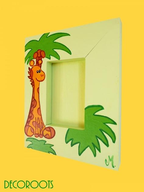 cadre photo b b girafe en bois collection jungle personnalis enfant b b objet d coratif. Black Bedroom Furniture Sets. Home Design Ideas
