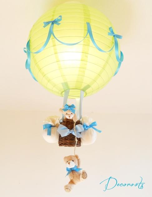 Lampe montgolfi re enfant b b vert turquoise cr ation - Abat jour chambre garcon ...