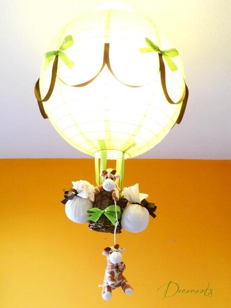 Lampe montgofli re girafe cr ation artisanale - Chambre vert anis et marron ...