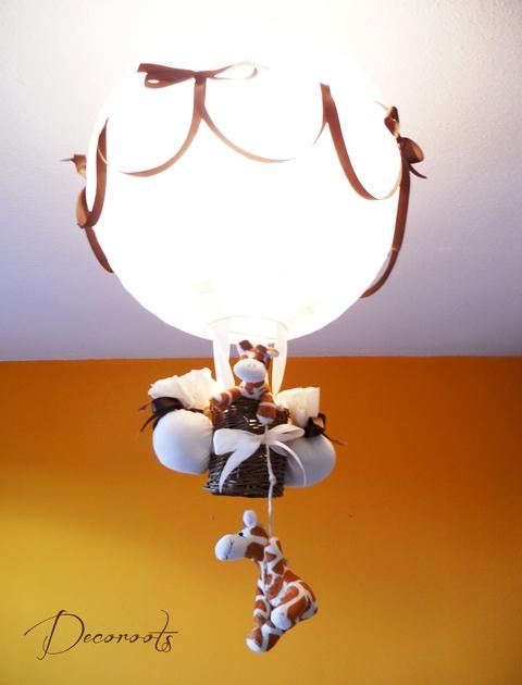 Lampe montgolfi re enfant b b beige marron cr ation for Abat jour chambre bebe garcon