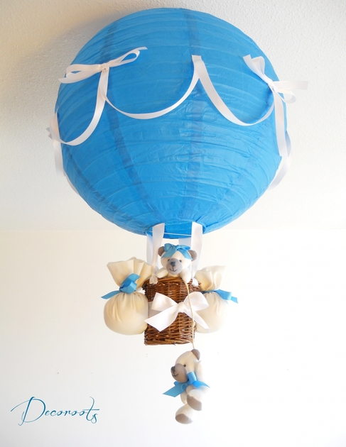 Lampe montgolfi re b b ours cr ation artisanale - Lustre chambre garcon ...