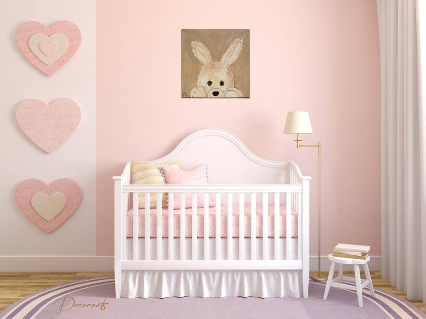 Tableau enfant b b esth ban le lapin en peluche - Tableau chambre bebe garcon ...