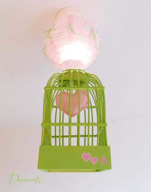 Lustre suspension cage fille vert et rose enfant b b for Abat jour chambre fille