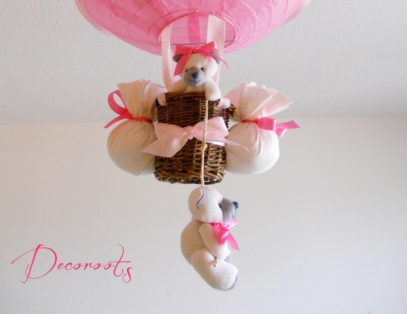 lampe montgolfi re enfant b b fille ours rose et beige. Black Bedroom Furniture Sets. Home Design Ideas