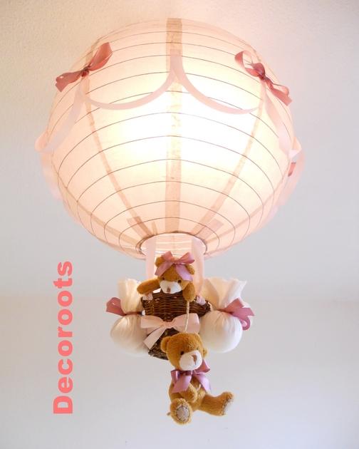 lampe montgolfi re fille taupe et rose enfant b b. Black Bedroom Furniture Sets. Home Design Ideas