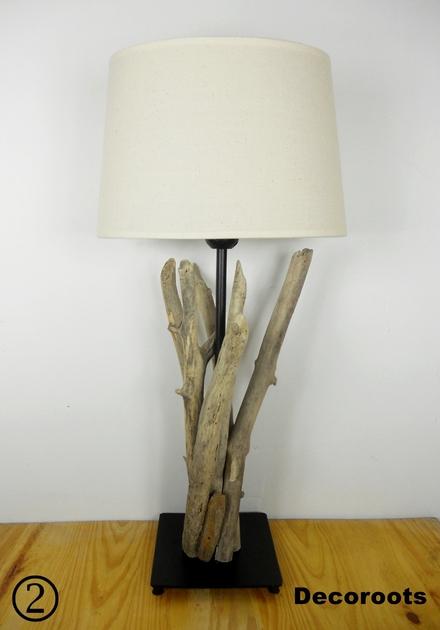 Lampe en bois flott d coration ethnique nature et zen for Chevet en bois flotte