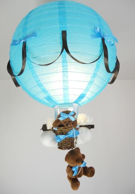 Chambre Marron Chocolat Et Bleu Turquoise : Lampe montgolfière enfant bébé création artisanale