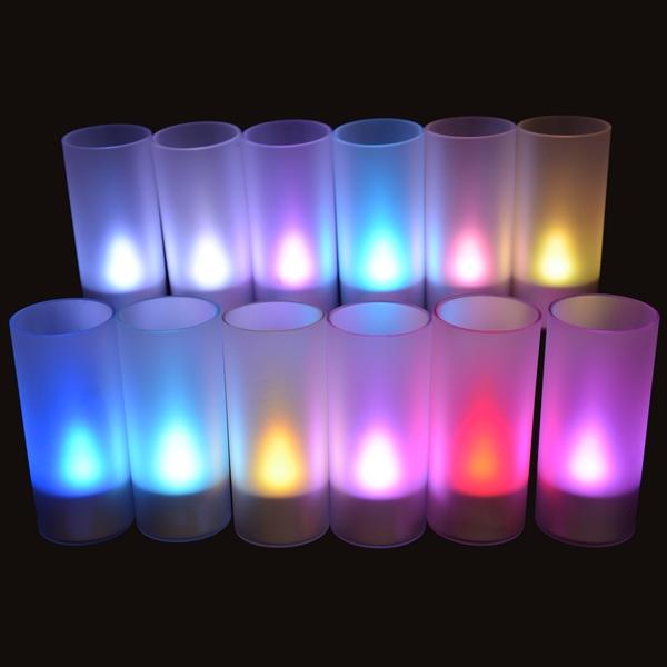bougie led rechargeable rvb plateau de 12 deco lumineuse