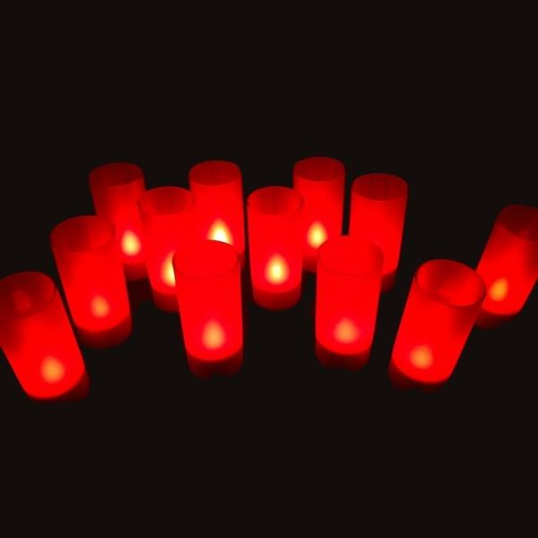 Bougie led rechargeable rouge plateau de 12 deco lumineuse - Bougie led rechargeable ...