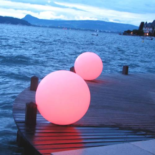 Boule lumineuse led sans fil patio 30 cm deco lumineuse - Boule deco exterieur ...