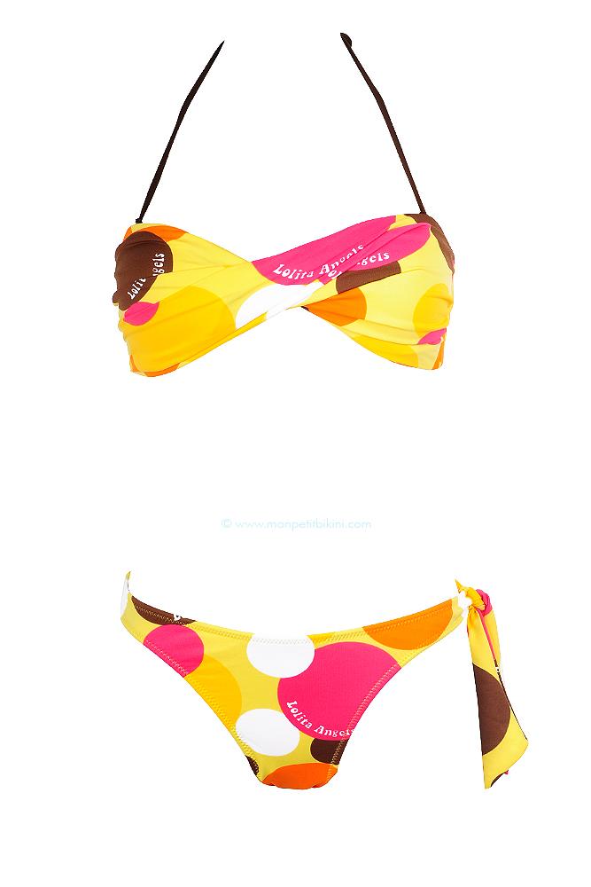 maillot de bain bandeau twist jaune beau bikini rembourr jaune. Black Bedroom Furniture Sets. Home Design Ideas