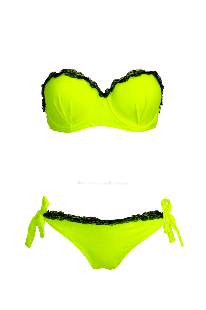 maillot de bain dentelle jaune fluo bikini jaune fluo pas cher. Black Bedroom Furniture Sets. Home Design Ideas