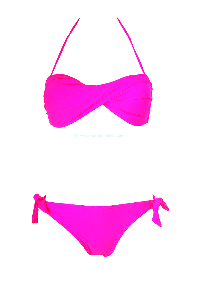 maillot de bain bandeau fushia fluo bikini pas cher. Black Bedroom Furniture Sets. Home Design Ideas