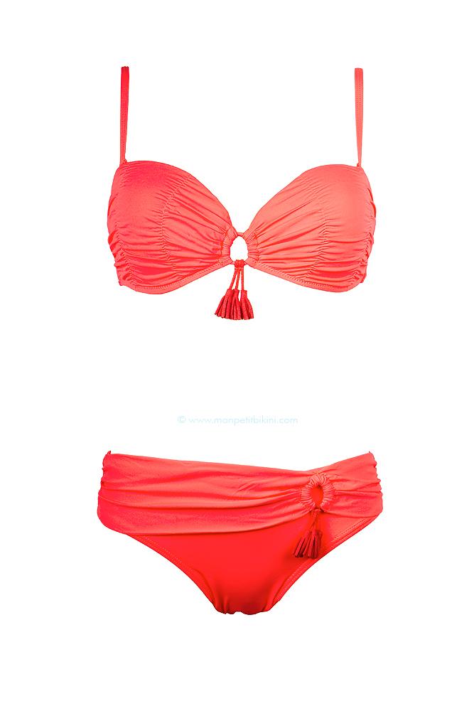 maillot de bain deux pi ces corail avec pompom bikini prix mini. Black Bedroom Furniture Sets. Home Design Ideas