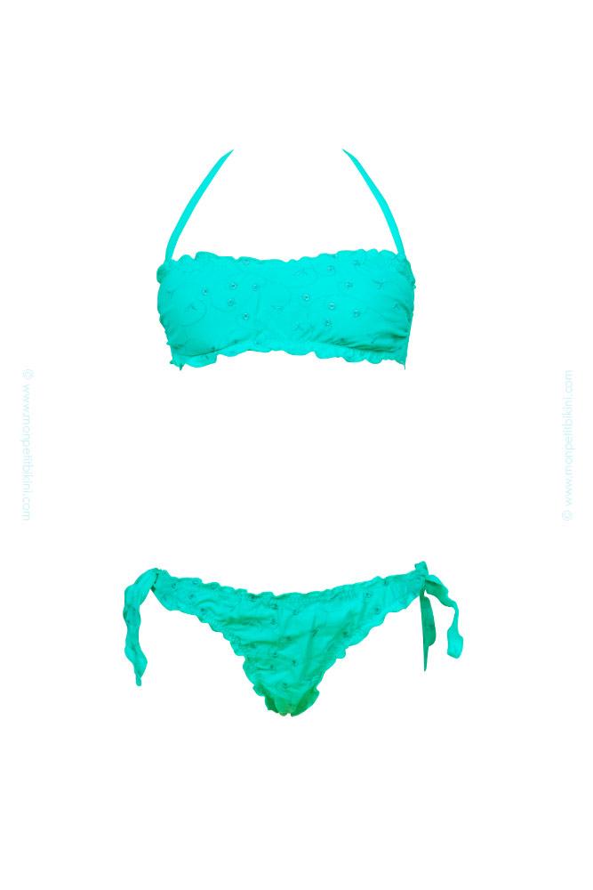 Maillot de bain enfant pas cher maillot de bain bandeau vert for Maillot deux pieces piscine