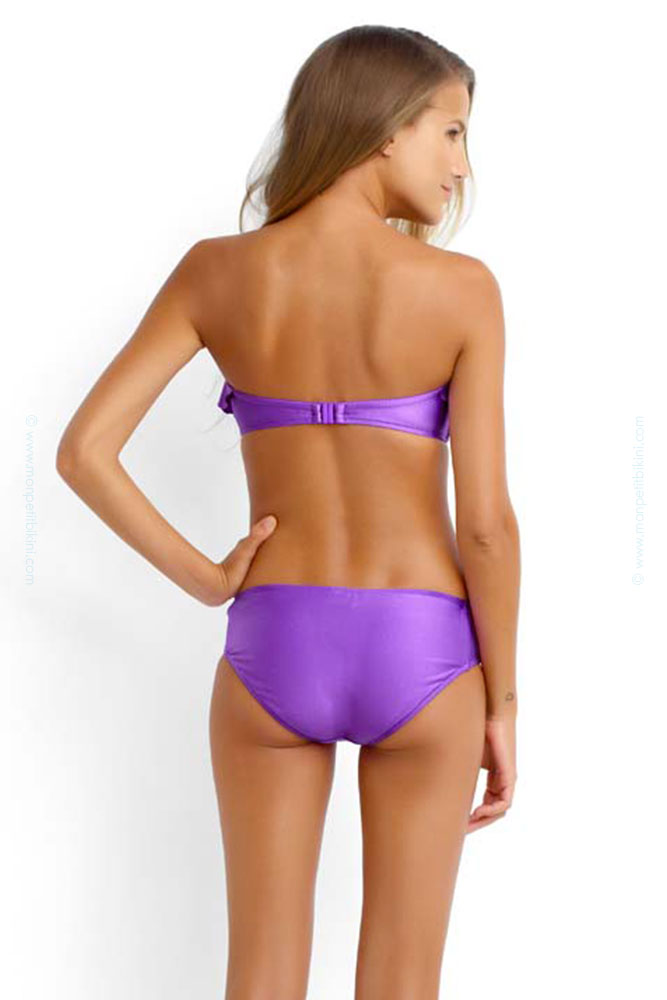Bikini à volants violet