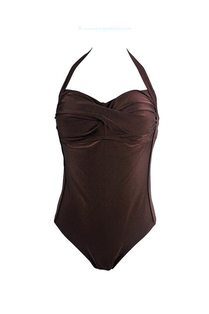maillot de bain une pi ce marron maillot de bain bonnet. Black Bedroom Furniture Sets. Home Design Ideas