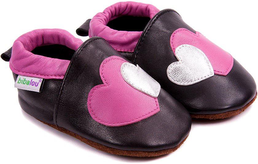 chaussons b b en cuir souple coeur coeur nos chaussons l gers mod les filles bibalou. Black Bedroom Furniture Sets. Home Design Ideas